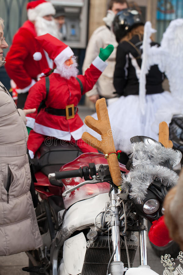 Download The Parade Of Santa Clauses On Motorcycles Around The Main Market Square In Cracow Editorial Photography - Image: 35854827