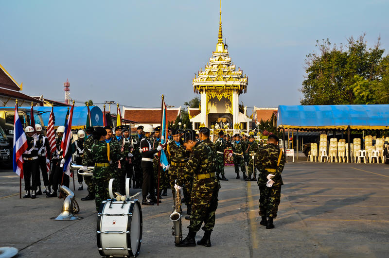 The parade of soldiers in the Armed Forces Day ceremony in Thailand Thailand. stock image