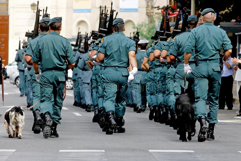 Parade of the Spanish Civil Guard through the streets of Alicante stock photography