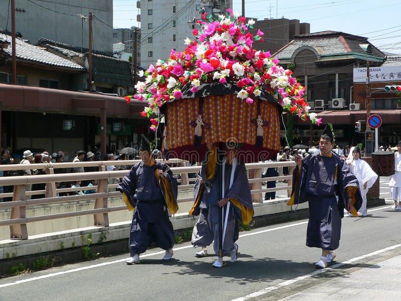Parade traditionellen Aoi-Festivals, Kyoto Japan lizenzfreies stockbild