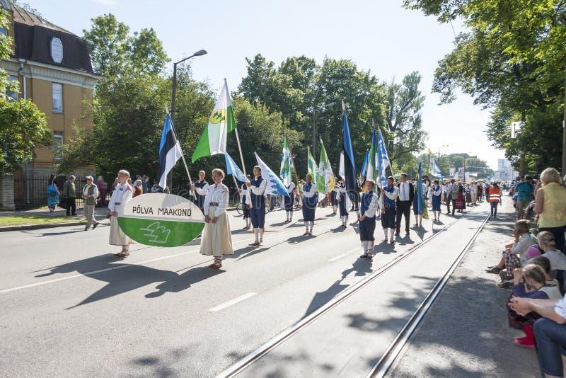 Parade van Estlands nationaal liedfestival in Tallinn, Estland stock fotografie