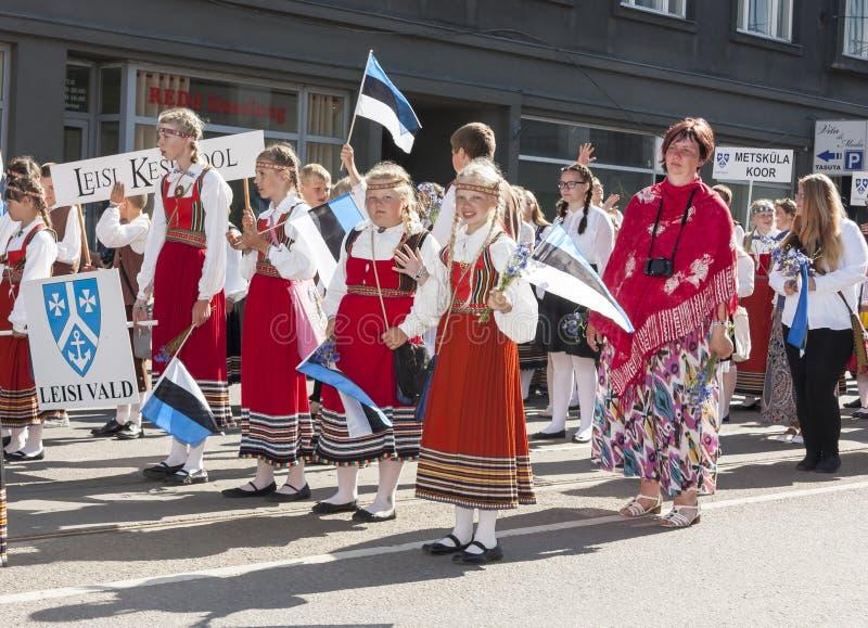 Parade van Estlands nationaal liedfestival in Tallinn, Estland royalty-vrije stock afbeeldingen