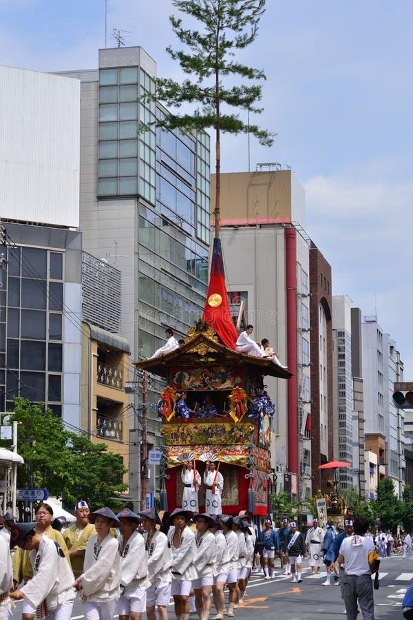 Parade van Gion-festival, Kyoto Japan in de zomer stock foto's
