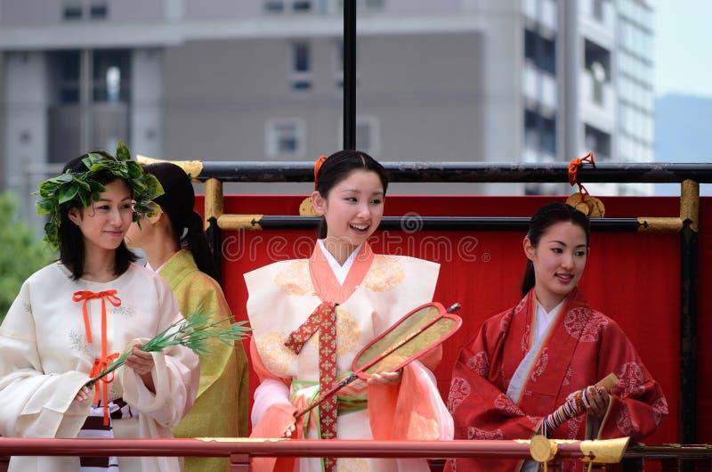 Parade van prinsessen van Gion Matsuri-festival royalty-vrije stock foto's