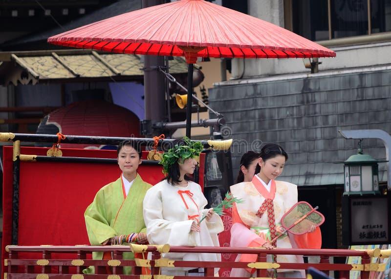 Parade van prinsessen van Gion Matsuri-festival royalty-vrije stock afbeeldingen