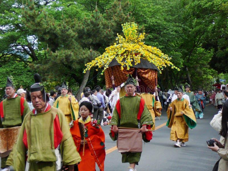 Parade van traditioneel Aoi-festival, Kyoto Japan royalty-vrije stock foto