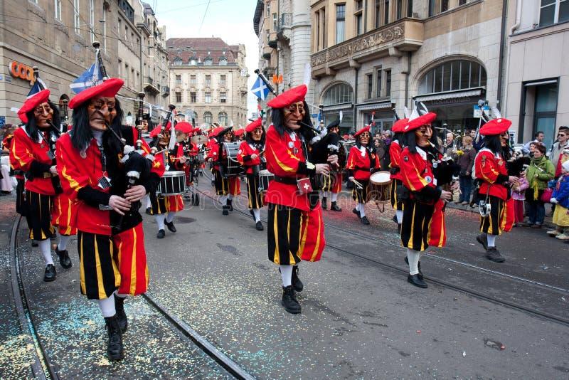 Parade, Waggis, Carnaval in Bazel, Zwitserland stock fotografie