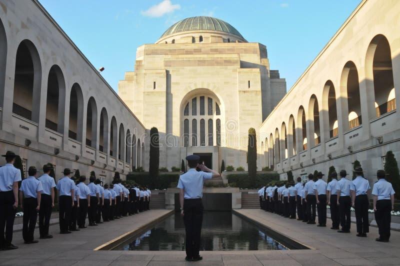 Paradegebeurtenis voor gevallen in Anzac War Museum in Canberra Aust stock foto's