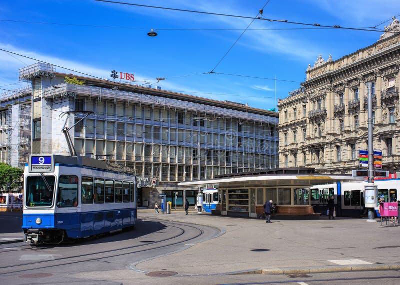 Paradeplatzvierkant in de stad van Zürich, Zwitserland royalty-vrije stock afbeelding