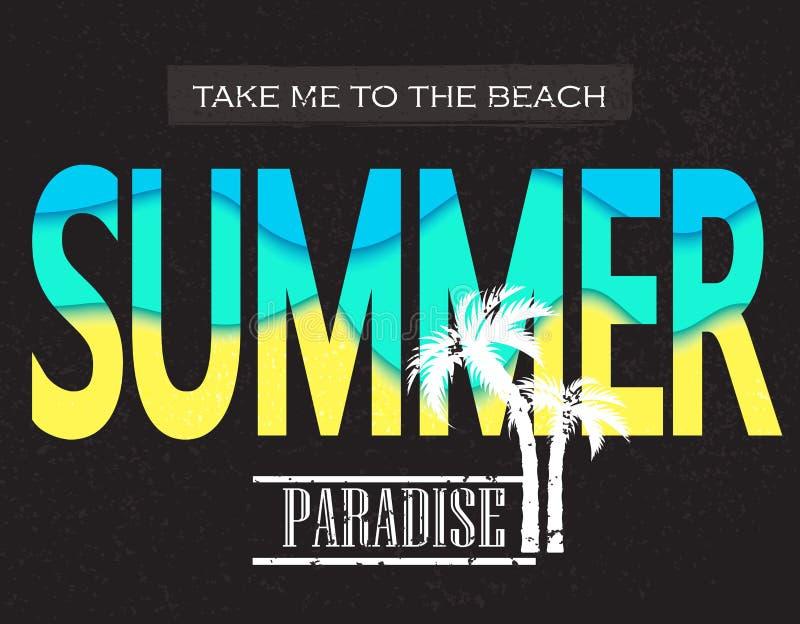 Paradice d'été Portez-moi à la plage Illustration de vecteur pour le T-shirt et autre utilisations illustration stock