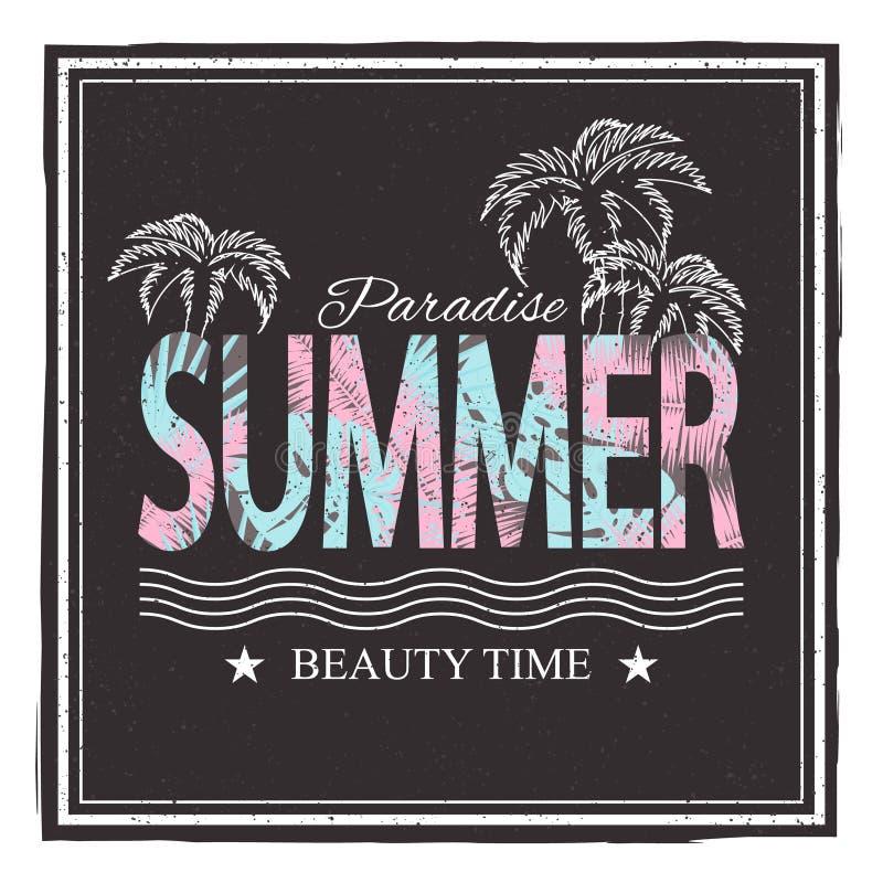 Paradice del verano Tiempo de la belleza Ejemplo del vector para la camiseta y otra aplicaciones ilustración del vector