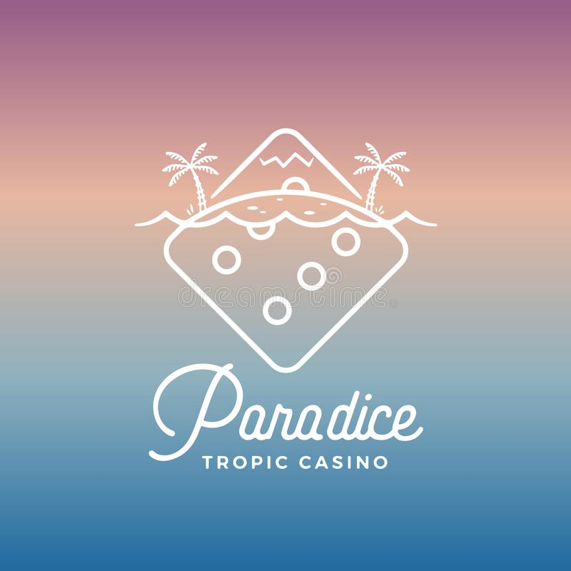 Paradice Tropic Casino Vector Label, Emblem or Logo Template. Line Style Tropic Island Incorporated in The Gambling Dice stock illustration
