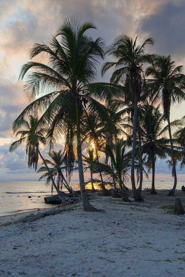 Paradies-Inseln in Guna Yala, Kuna Yala, San Blas, Panama Sonnenuntergang SONNENAUFGANG lizenzfreie stockfotos