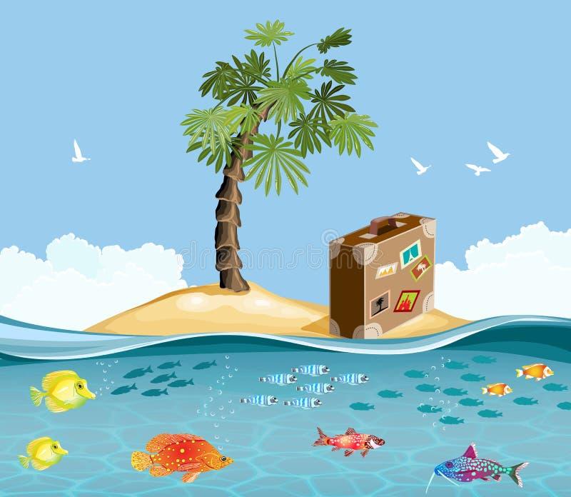 Paradiesinsel mit Fischen und tropischer Palme stock abbildung