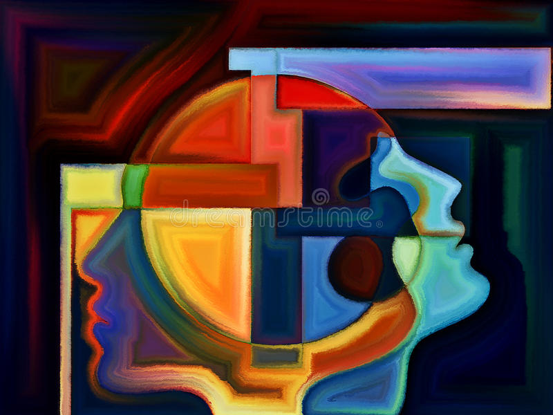 Paradigm of Perception. Thinking Divided series. Composition of human profiles and stained glass lines on the subject of mind, science, technology and education royalty free stock photos