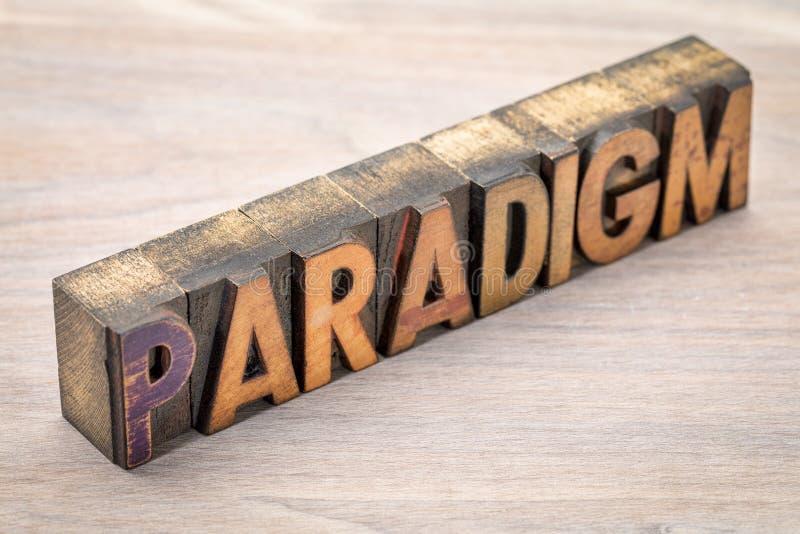 Paradigmawortzusammenfassung in der hölzernen Art stockfoto