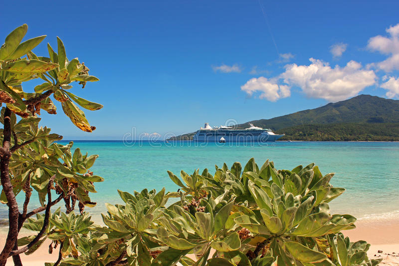 Paradijsstrand in Geheimzinnigheid eiland, Zuid-Pacifisch Vanuatu, royalty-vrije stock foto's