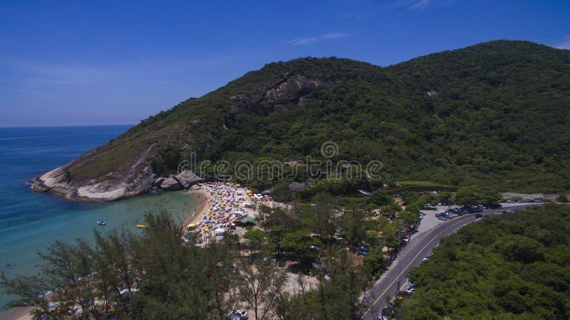 Paradijsstrand, mooi strand, prachtige stranden rond de wereld, Grumari-strand, Rio de Janeiro, Brazilië, Brazilië van Zuid-Ameri royalty-vrije stock afbeelding