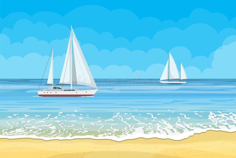 Paradijsstrand van het overzees met jachten vector illustratie