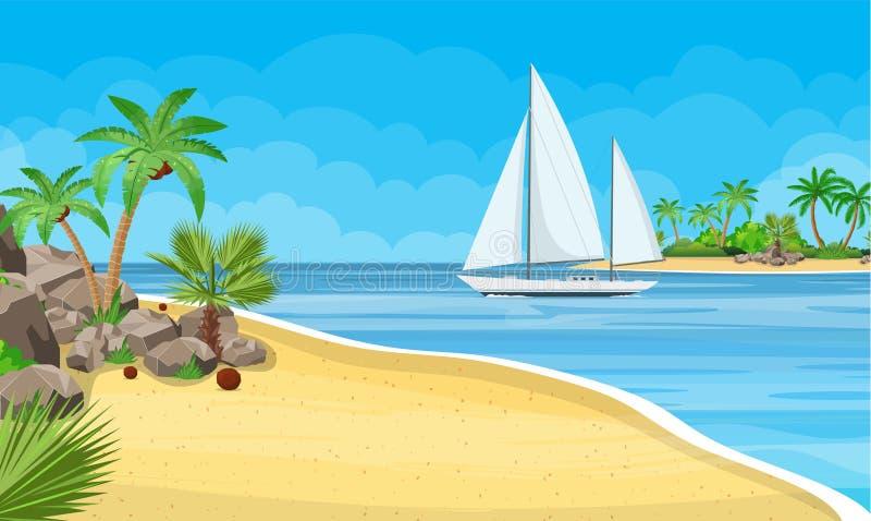 Paradijsstrand van het overzees met jachten stock illustratie