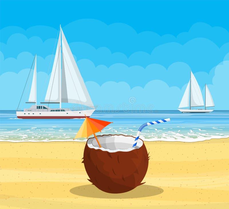 Paradijsstrand van het overzees met jachten royalty-vrije illustratie