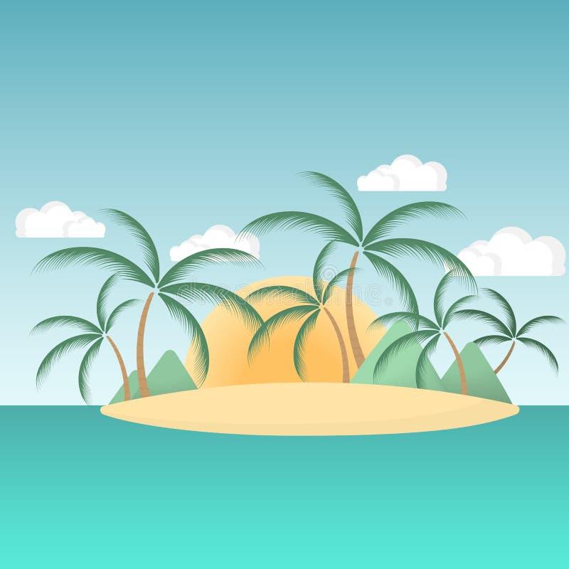 Paradisö i havet med palmträd och berg i bakgrunden av resningsolen vektor illustrationer