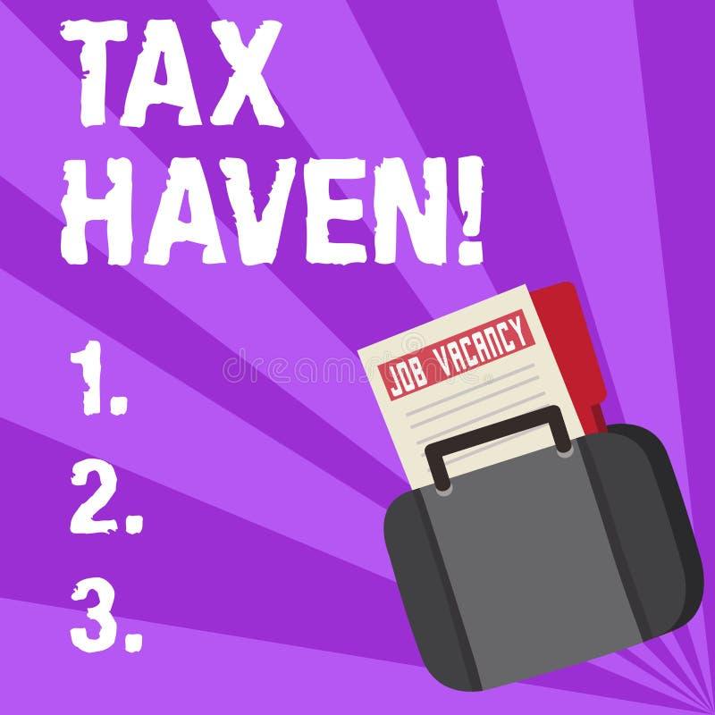 Paradis fiscal d'écriture des textes d'écriture Pays de signification de concept ou secteur indépendant où des impôts sont prélev illustration de vecteur