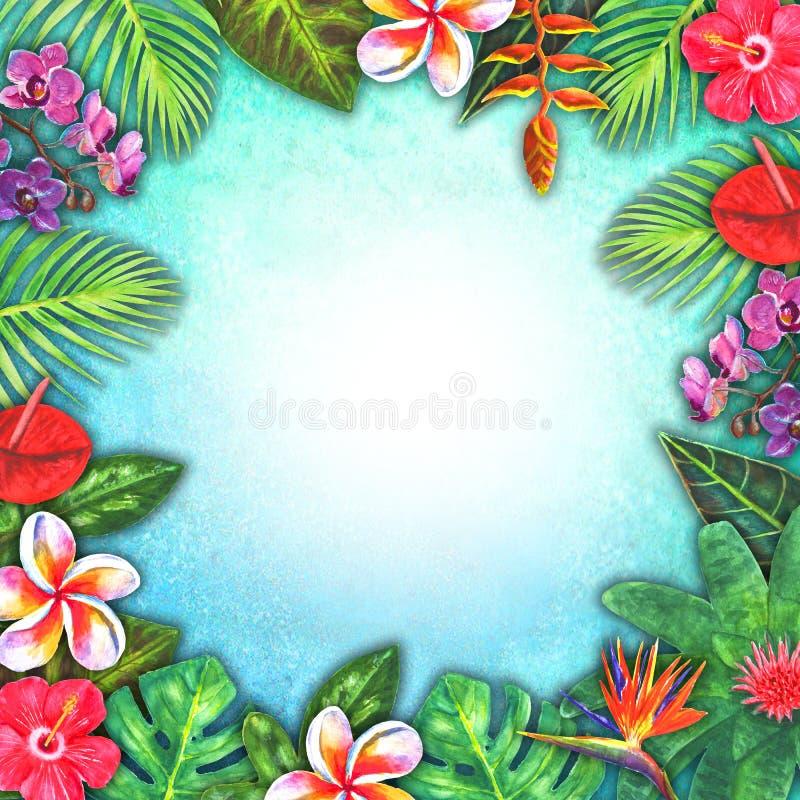 Paradis tropical d'aquarelle abstraite d'été Plantes tropicales de papier colorées tirées par la main illustration libre de droits