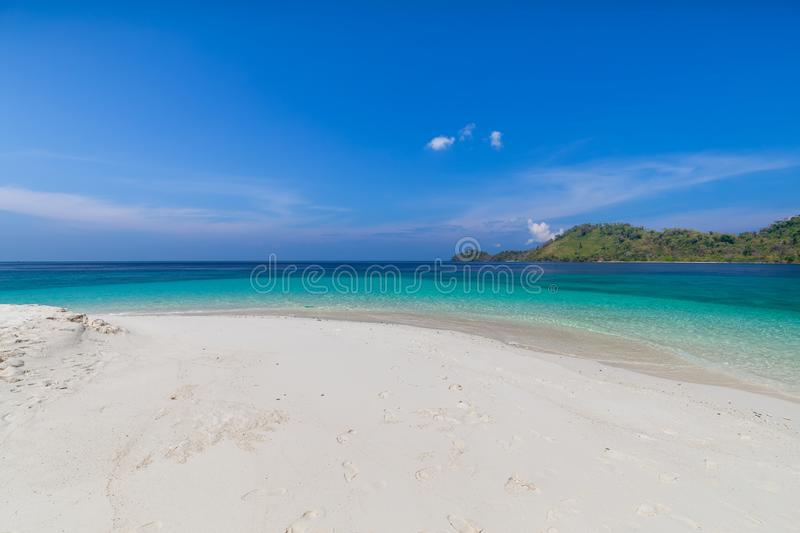 Paradise beach and the blue sky at Khai Island in Satun Province , Thailand.  royalty free stock images