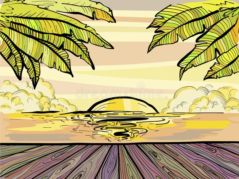 Paradise Beach and palm trees, summer sunset sketch. Tropical vector illustration vector illustration