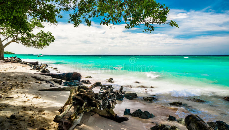 Paradise beach of Playa blanca by Baru in Colombia. View on paradise beach of Playa blanca by Baru in Colombia royalty free stock photos