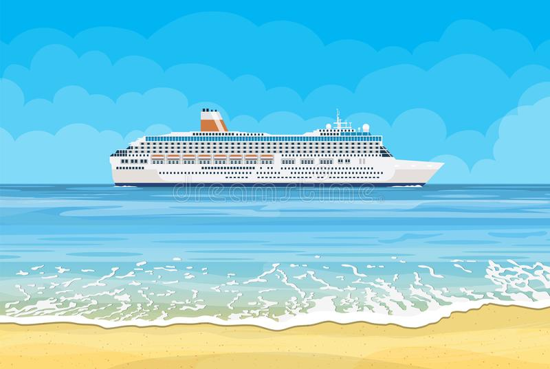 Paradise beach of the sea with cruise ship vector illustration
