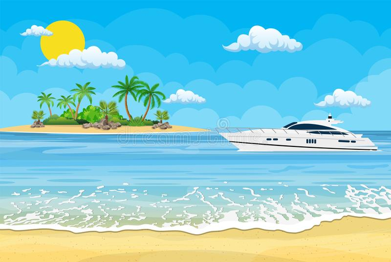 Paradise beach of the sea with yachts royalty free illustration