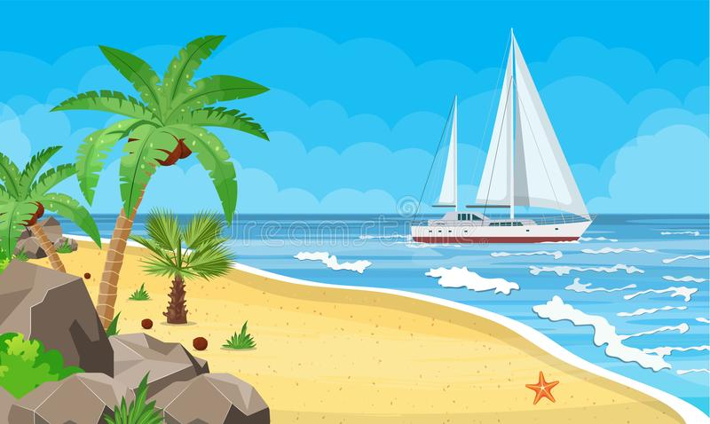 Paradise beach of the sea with yachts stock illustration