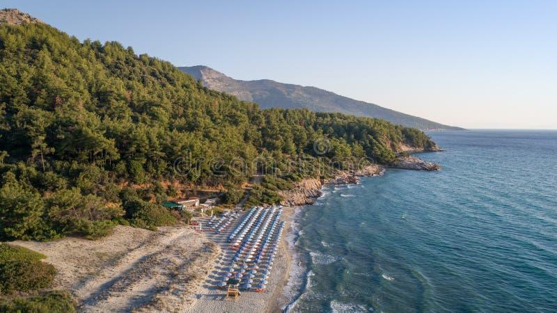 Paradise beach. Thassos Island, Greece. Aerial view of Paradise beach. Thassos Island, Greece royalty free stock photography