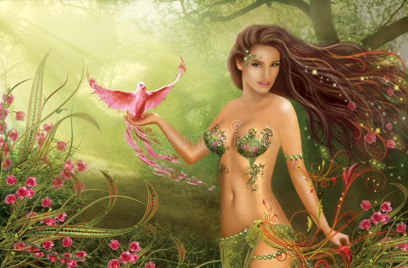 Fantasy Woman Fairy And Paradise Bird On Background Nature Royalty Free Stock Image