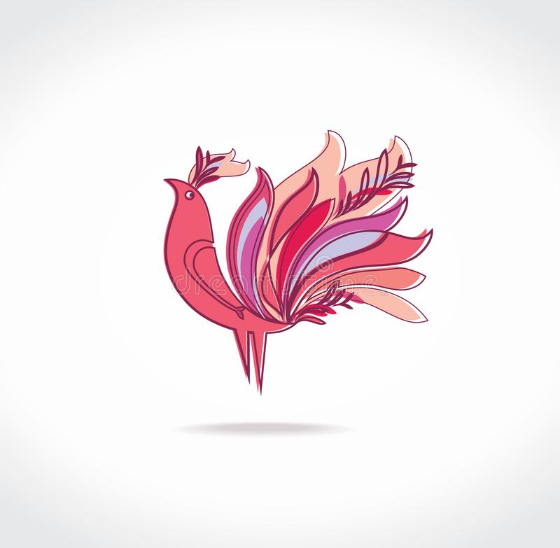 Paradise bird with magnificent feathers resembling fire. stock illustration