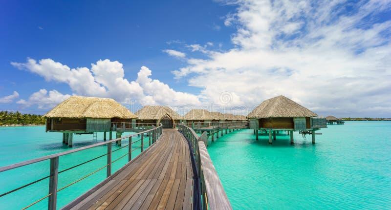 Paradise in Bora Bora. Beautiful beach bungalows in Bora Bora stock images