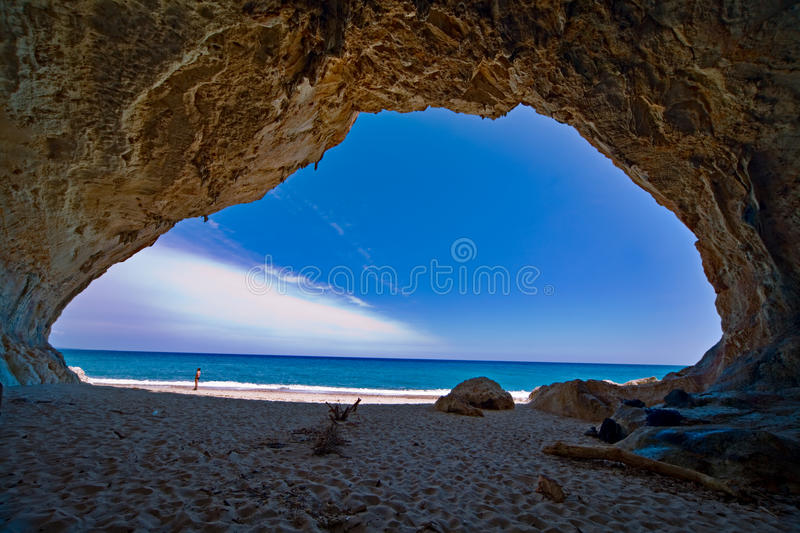 Paradise cave sea blue sky vacation royalty free stock images