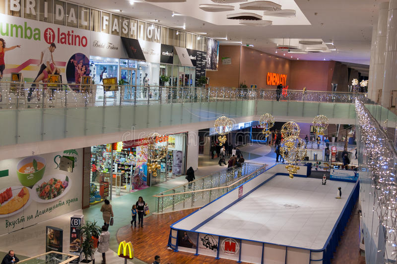 Paradise Center shopping mall in Sofia, Bulgaria. Unrecognized people visit Paradise Center shopping mall. Situated between the city center and the mountain, it stock photo