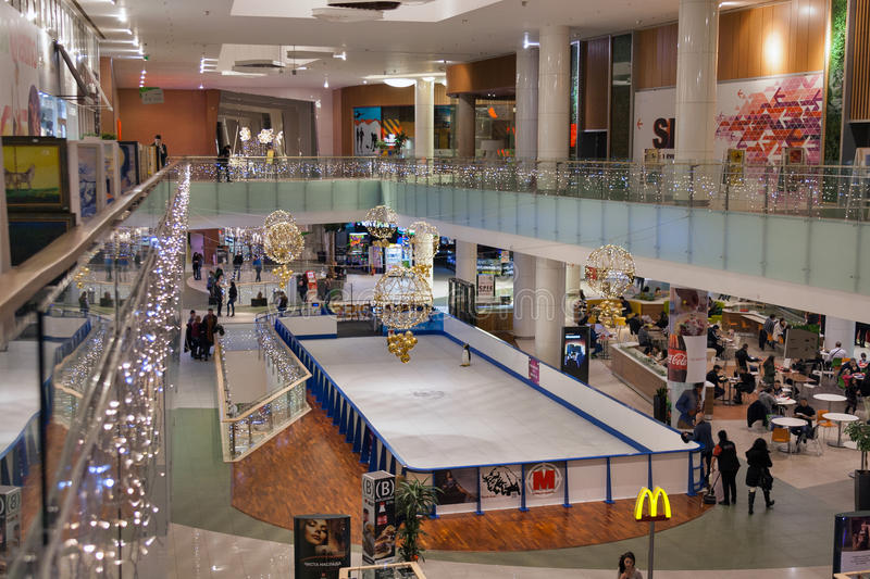 Paradise Center shopping mall in Sofia, Bulgaria. Unrecognized people visit Paradise Center shopping mall. Situated between the city center and the mountain, it royalty free stock photo