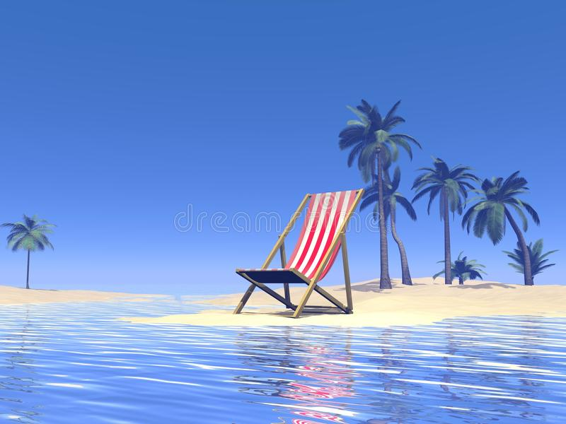 Paradise Chair Waiting For You - 3D Render Stock Images
