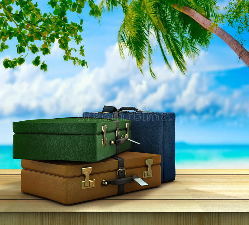 Paradise destinations. Three suitcases on outside in a paradisical location vector illustration