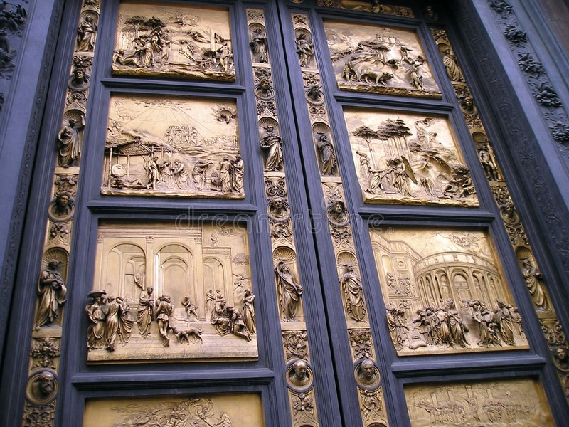 Paradise Door. Known as Porta del Paradiso (heaven's door) this is the eastern door of San Giovanni Battistero in Florence. It faces the entrance of the church stock photos