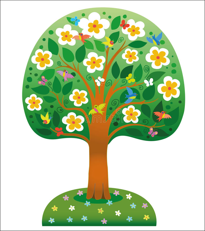 Paradise flowering tree vector illustration
