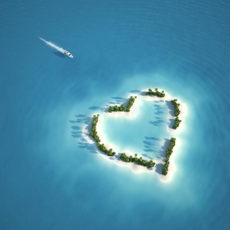 Paradise heart shaped island. Yacht heading to heart shaped island seen from the air concept for romantic vacation or valentines