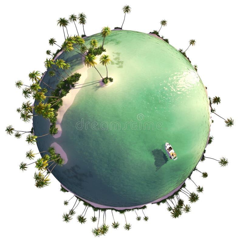 Paradise island globe royalty free illustration