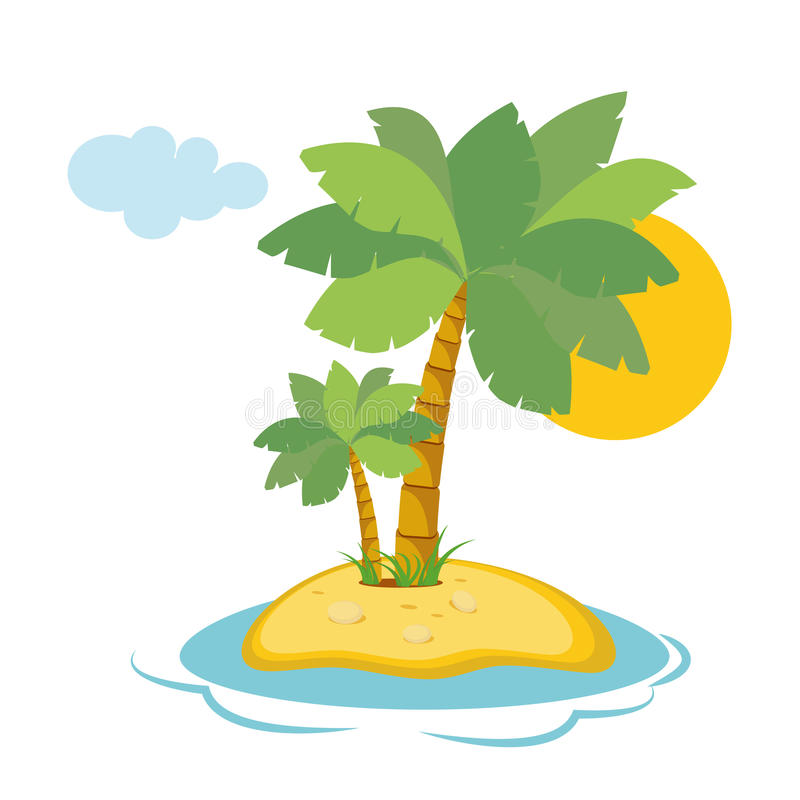 Paradise Island in the sea with palm trees and sunshine in a flat style isolated on white background. Vector vector illustration