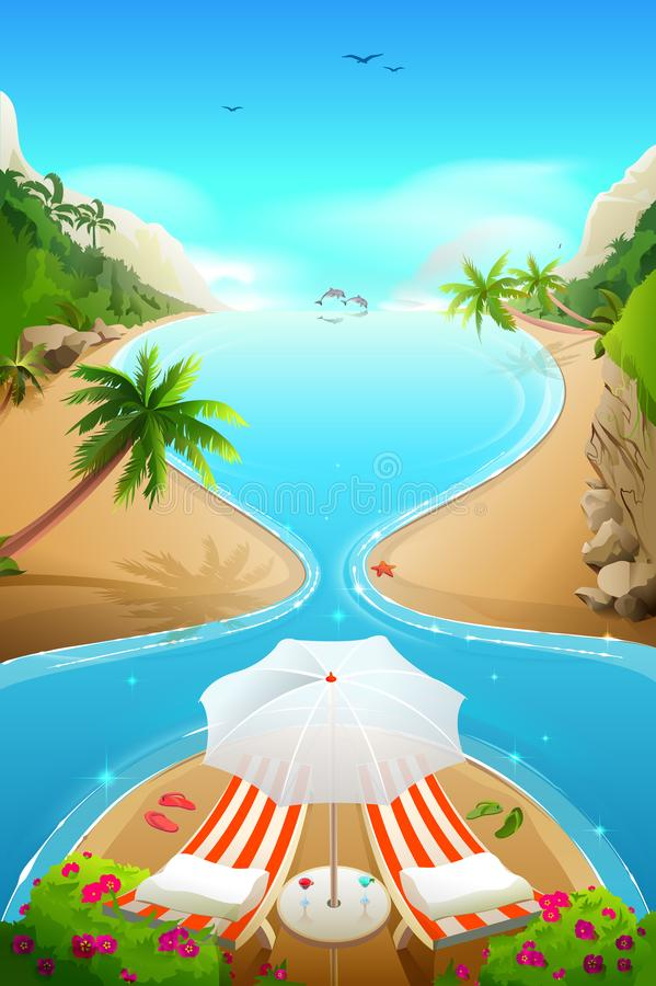 Paradise lagoon beach on tropical island. Two lounge chairs, cocktails and parasol. Vector cartoon illustration vector illustration