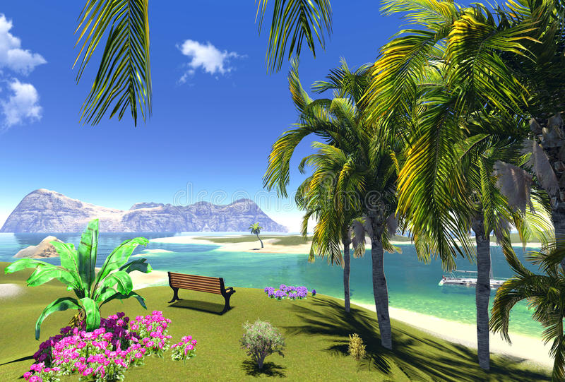 Paradise Lagoon And Bench Stock Photography